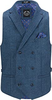 Xposed Kano Mens Tweed Check Waistcoat Vintage 1920s Styled Tailored Fit Double Breasted with Collars Herringbone Weave
