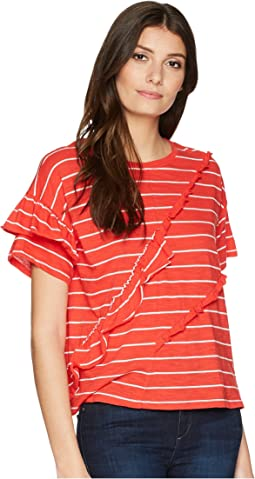 Lightweight Cotton Slub Stripe Top KS5K3647
