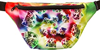 KANDYPACK Tie Dye Cat Fanny Pack with Hidden Pocket Perfect for Raves and Festivals
