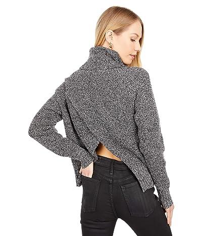 Madewell Eastbrook Turtleneck Cross-Back Sweater in Cotton-Merino Yarn (Marled Zebra) Women