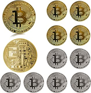 12Pcs Bitcoin - Pure Gold Physical Bitcoin Coin Blockchain Cryptocurrency in Protective Collectable Gift, Featuring Origin...