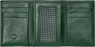 Nuvola Pelle Minimalist Wallet Men Trifold in Leather with 6 Credit Cards Slots, Banknotes and ID Window Green