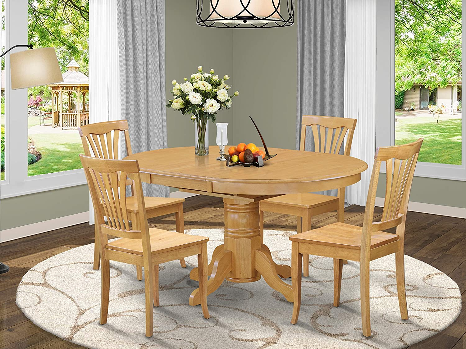 East West Furniture wooden dining table set 9 Great wooden Chairs   A  Lovely round dining table  Oak Color Wooden Seat cherry and Oak Butterfly  Leaf ...