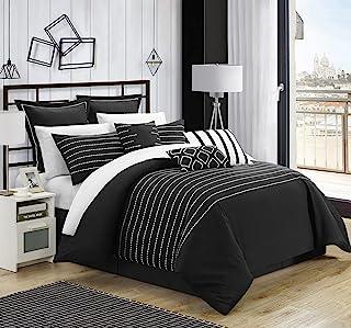 Chic Home CS3962-AN Brenton Super Rich Microfiber Stitch Embroidered 9 Piece Comforter Set, Queen, Black