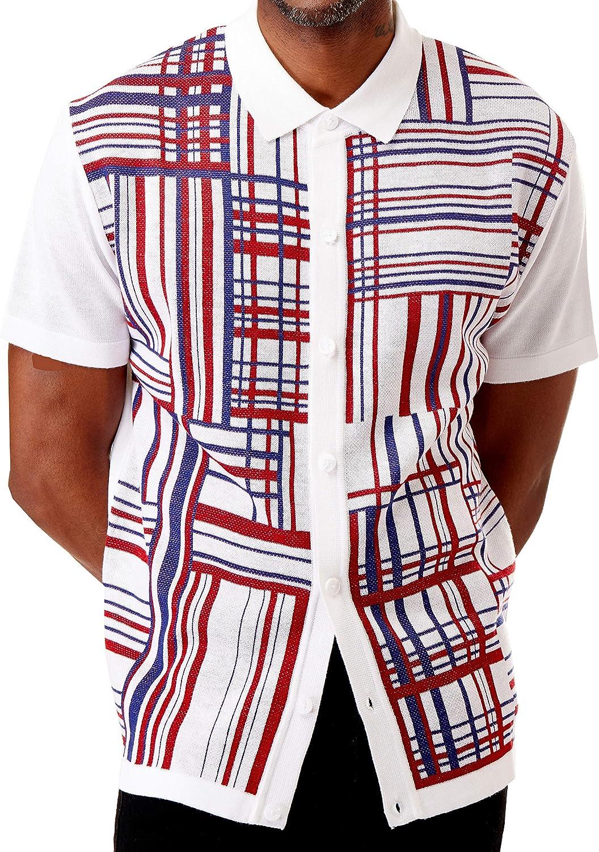 1960s Men's Clothing Men's Short Sleeve Knit Sports Shirt - Modern Polo Vintage Classics: Plaid Mix $39.00 AT vintagedancer.com