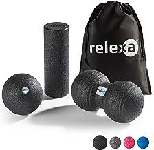 Relexa mini Fascia-set, 4-delig, full-body trainingsset, met fasciarol, twinball & fasciabal, vlakke en punctuele zelfmass...