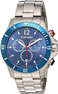 Men's 0641.102 Sea Force 3H Analog Display Swiss Quartz Black Watch
