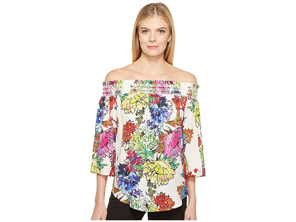 Karen Kane Watercolor Floral Off the Shoulder Top (Print) Women
