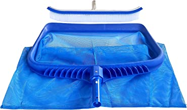 Cclear Pool Supply Pool Skimmer Net and Pool Brush, Pool Net with Deep Bag, Pool Skimmer Rake Medium Fine Mesh, Pool Leaf Net and Pool Wall Brush Pool Supplies