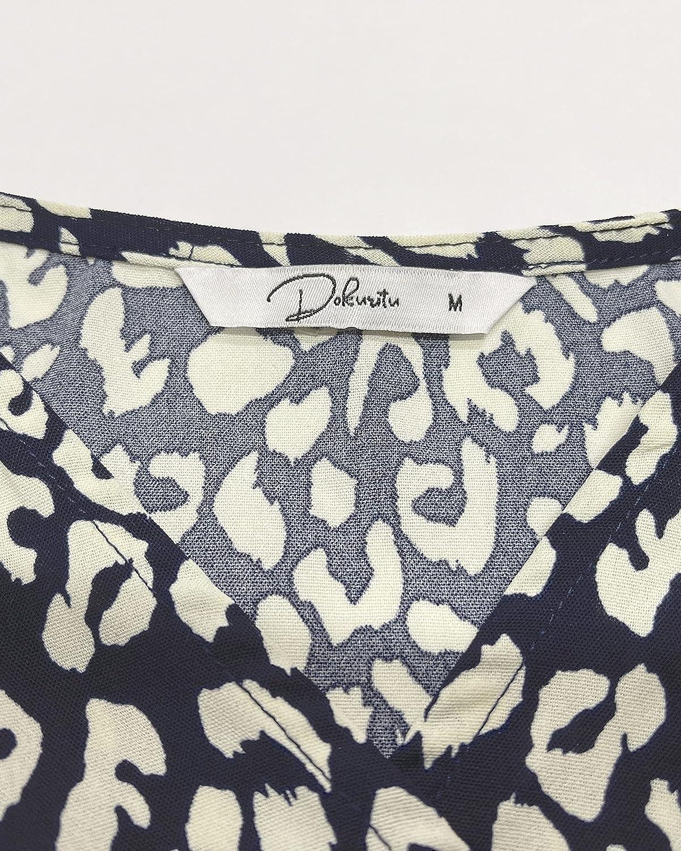 Dokuritu Women's Floral Wrap Dress, Irregular Hem Ruffle Maxi Dress Summer Beach Long Dress