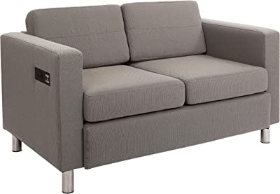 Office Star Atlantic Vinyl Loveseat with Dual Charging Station and Silver Finish Legs, Gavotte Grey