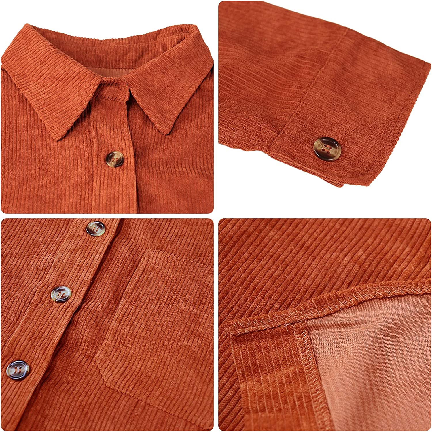 Women's Corduroy Long Sleeve Lapel Button Down Shirt Oversized Jackets Blouses Tops with Pocket