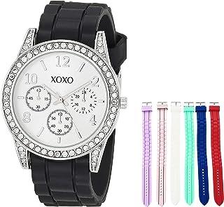 ساعة اكس او اكس او للنساء من الستانلس ستيل مع حزام من السيليكون، متعددة الألوان موديل 20 (XO9147AZ)