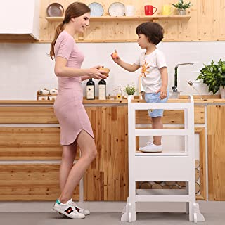 UNICOO- Height Adjustable Kids Learning Stool, Kids Kitchen Step Stool, with Safety Rail-Solid Hardwood Construction. Perfect for Toddlers (White - 02)