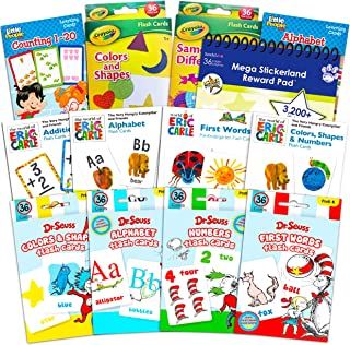 Flash Cards for Toddlers Kids Ultimate Set Bundle ~ 12 Packs of Flashcards (ABC Flash Cards; Colors and Shapes, Numbers; Addition; First Words; Bonus Reward Stickers)