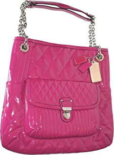 Poppy Liquid Gloss Slim Tote Shoulder Bag Magenta 19830