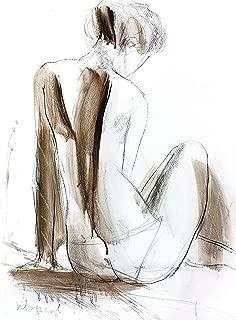 Nude Woman Print, Female Figure Silhouette Drawing, Fine art Sketch, Living Room Wall Decor