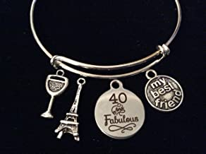 40 and Fabulous My Best Friend Happy 40th Birthday Expandable Silver Charm Bracelet Adjustable Bangle Gift Eiffel Tower Wine Glass