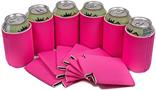 QualityPerfection - Set Of 12 -Neoprene Beer Blank Can Cooler Sleeve Collapsible Coolie Economy Bulk Insulation with Stitches Perfect 4 Events,Parties,Custom DIY Projects,Gifts,Vacations(12, Hot Pink)