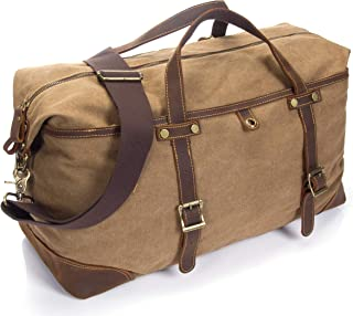 emissary Duffel Bag Carry On Bag [Canvas and Leather Duffle] Large Overnight Bag for Men (Brown Weekender Bag)