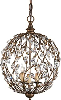 Currey and Company 9652 Crystal Bud 3-Light Sphere Chandelier, Cupertino Finish with Crystal Accents