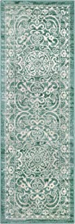 Maples Rugs Runner Rug - Pelham 2' x 6' Non Skid Hallway Entry Rugs Runner [Made in USA] for Kitchen and Entryway, Light Spa