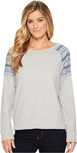 Lightweight French Terry Raglan Sweatshirt with Jacquard Stripe