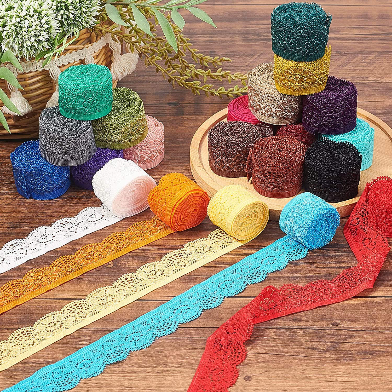 """BENECREAT 42 Yards 1"""" Wide Lace Elastic Trim Assorted Color Lace Ribbon Flower Edge Trimming for Sewing Craft Wedding Party Decor Clothes, 2 Yards/Roll"""
