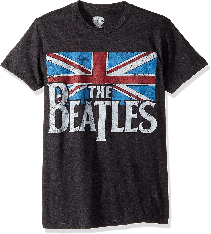 Bravado Mens Beatles Distressed British Flag T-Shirt Grey