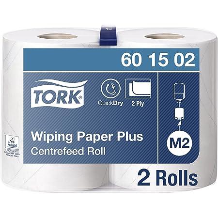 Tork 601502 Papier d'essuyage Premium - Blanc - 2 plis - lot de 2 rouleaux - 2 x 125 m - 34 x 23,5 cm