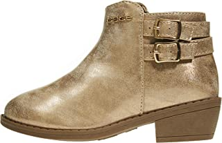 Girls Ankle Distressed Metallic Boots Double Buckle Side Zipper Fashion Shoes