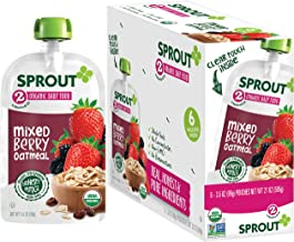 Sprout Organic Baby Food Pouches Stage 2, Mixed Berry Oatmeal, 3.5 Ounce Pouches (Pack of 12)