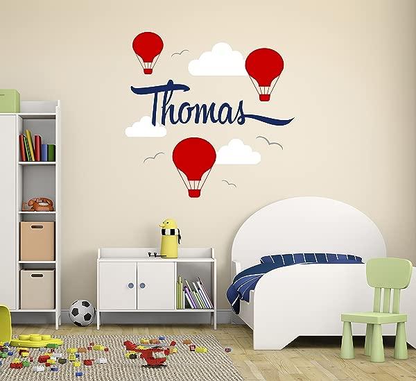 定制热气球名字墙贴花幼儿园墙贴花气球云朵墙面装饰乙烯基贴纸