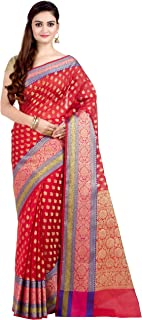 Best plain red silk saree with golden border Reviews