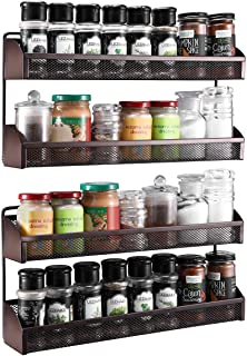 2 Pack- Simple Trending 2 Tier Spice Rack Organizer, Wall Mounted Spice Shelf Storage Holder for Kitchen Cabinet Pantry Do...