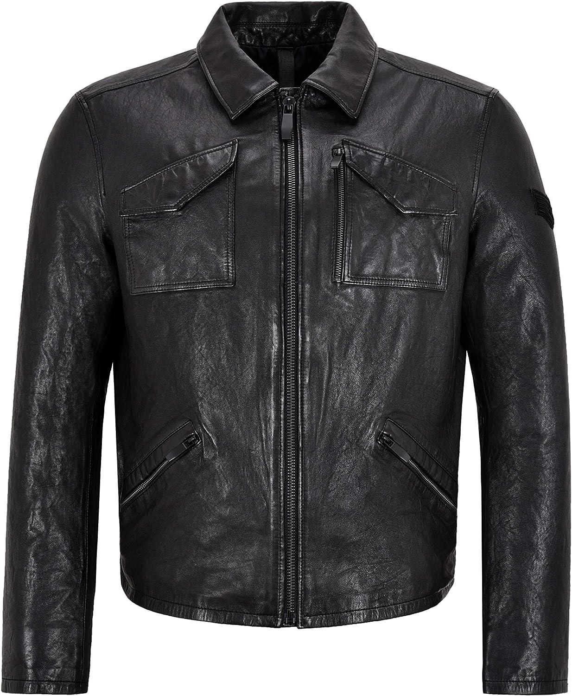 Mens Veg Tanned Leather Jacket Black Vintage Washed Effect 70's Leather Jacket 21206