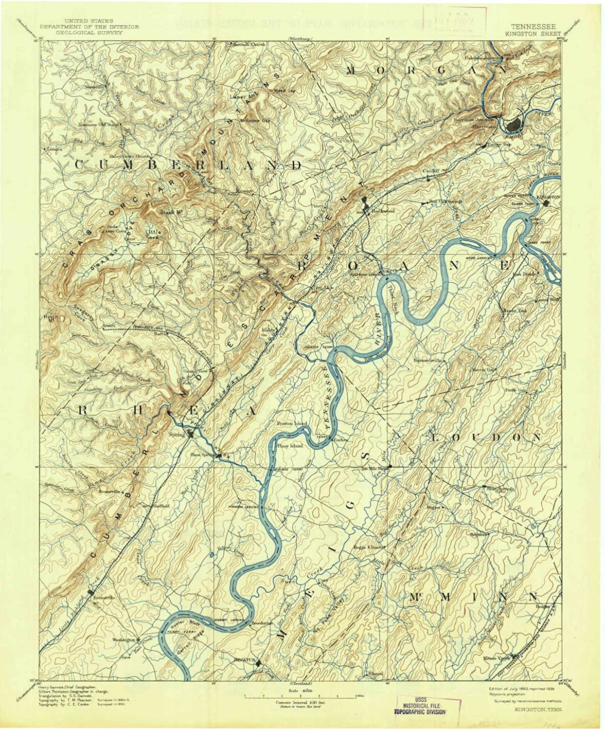 Kingston TN topo map, 1 125000 Scale, 30 X 30 Minute, Historical, 1893, Updated 1938, 19.9 x 16.5 in