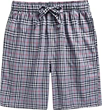 TINFL Cotton Lounge Pants for Men - 100% Soft Cotton Plaid Check Lounger Sleeping Pajama Pants with Pockets and Button Fly