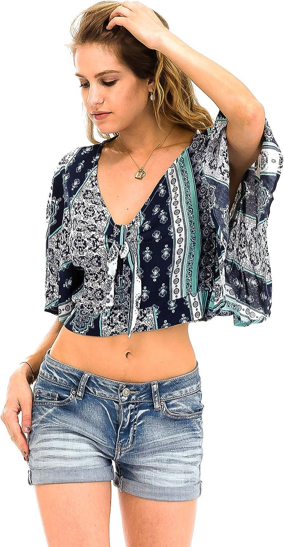 Malibu Days Kimono Short Sleeve Border Print Summer Festival Front Tie Blouse Top