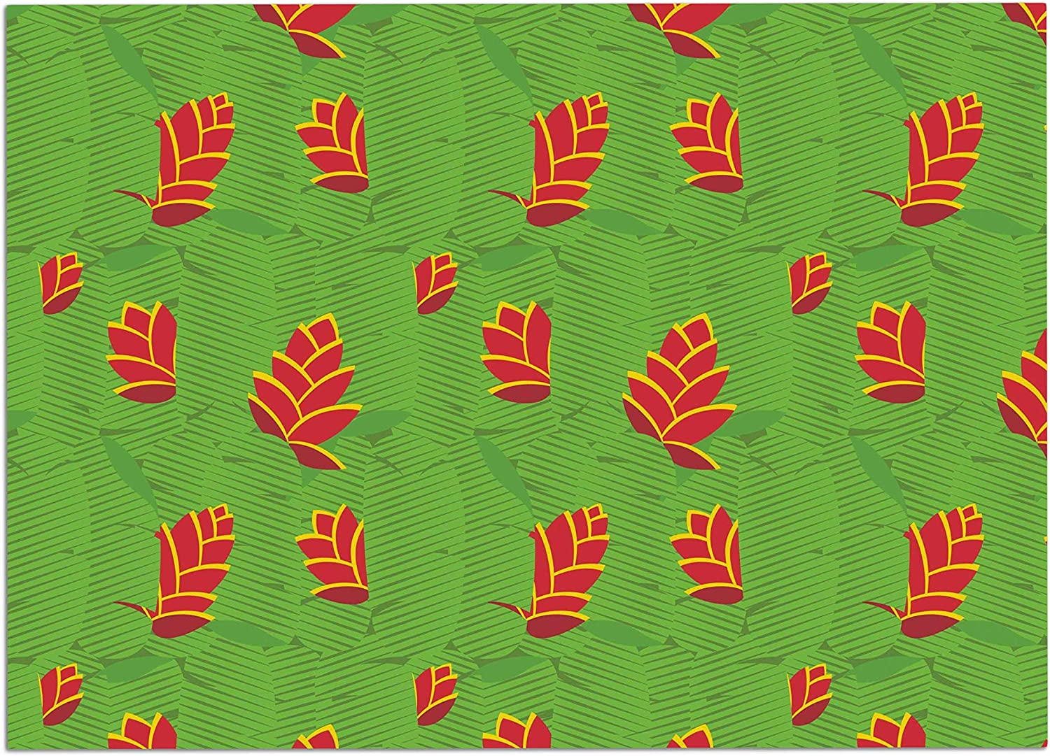 KESS InHouse Yenty Jap Heliconia Green Red Dog Place Mat, 24  x 15