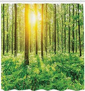 "Ambesonne Woodland Shower Curtain, Forest Springtime Freshness Theme Foliage Sunbeams Sunrise Nature View Scene, Cloth Fabric Bathroom Decor Set with Hooks, 84"" Extra Long, Green Yellow"