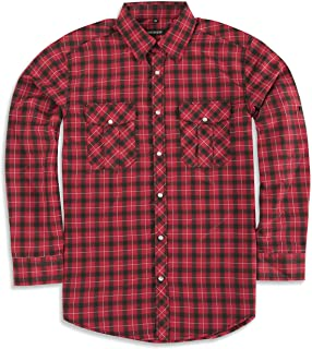 Sponsored Ad - JMBONHEUR Western Shirts for Men - Men's Cowboy Pearl Snap Buttons Plaid 2 Pockets Long Sleeve Casual Shirt