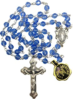Creed Vienna Collection Sterling Silver Rosary 6mm Light Blue Cielo Genuine Austrian Crystal Beads-