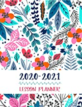 Lesson Planner: Teacher Agenda For Class Organization and Planning | Weekly and Monthly Academic Year (July – August) | Blue Floral (2020-2021) PDF