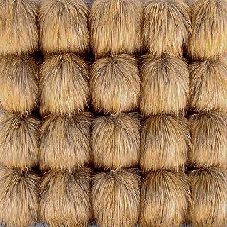 SIQUK 20 Piezas Pompones Piel Artificial Bola Marrón para Bolsos Llaveros