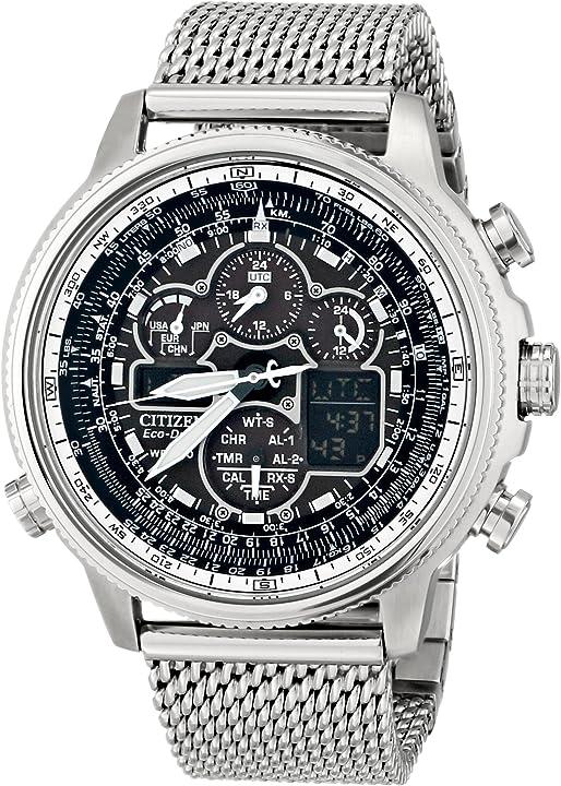 Watch citizen navihawk a-orologio da uomo con display analogico e digitale e cinturino in acciaio inox JY8030-83E