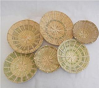 CreateYourTaste - Bamboo Baskets for Wall Decor/Art Cum Kitchen Storage (Set of 6)