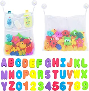 Comfylife 2 x Mesh Bath Toy Organizer + 6 Ultra Strong Hooks + 36 Bath Letters & Numbers – Eco-Safe, Fun, Educational Foam...