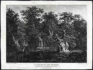 Antique Print-FOREST-PASTORAL-PAN FLUTE-APPLE-SHEEP-Gessner-Kolbe-c. 1810