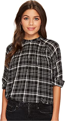 Lucky Brand Plaid High Neck Top